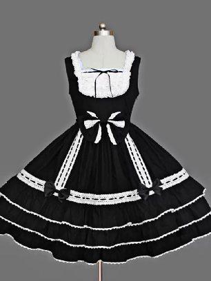 Blace with White lace retro lace bow palace princess dress chiffon suspender Sweet Lolita Dress