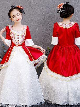 Style G - wine red white lace Christmas children court princess dress Bowknot Pleated hem Lolita Prom Dress