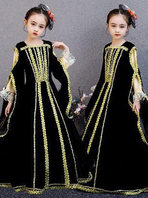 Style E - Black velvet Christmas children court princess dress Bowknot Pleated hem Lolita Prom Dress