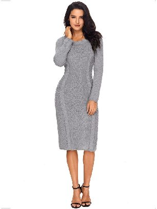Gray Winter Unique Hand Knitted Long Sleeve Slim Sweater Dress