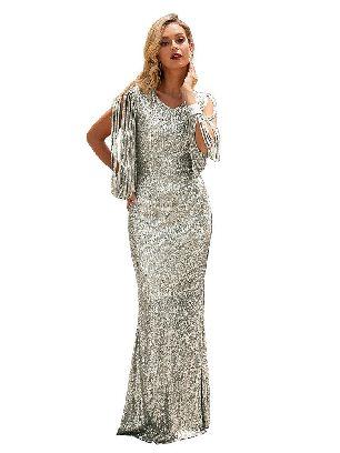 Nude Silver Sequin Fringe Sleeve Tassel Prom Maxi Dress