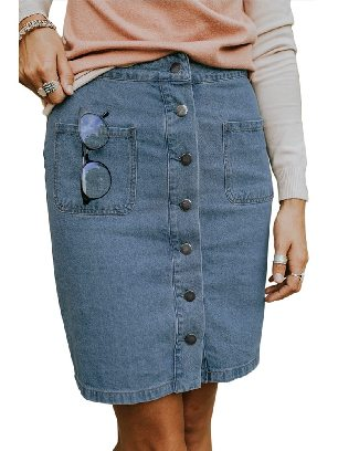 Sky Blue Single Breasted Chic Button Up Denim Skirt