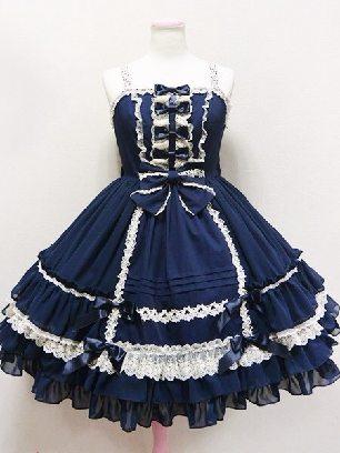 Dark blue elegant high waist suspender court cute Sweet Lolita Dress