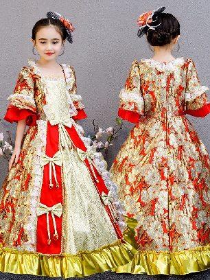 Style C - Red Flower Christmas children court princess dress Bowknot Pleated hem Lolita Prom Dress