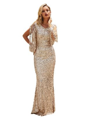 Apricot Silver Sequin Fringe Sleeve Tassel Prom Maxi Dress