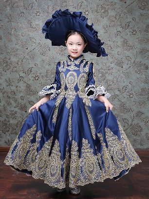Blue Children court retro princess dress trumpet sleeves embroidered palace Prom Dress