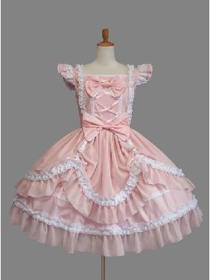 Lolita gothic lace puffy Sleeveless Cotton Classic Lolita Dress