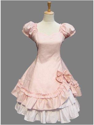 Prairie girl summer outfit Pink Cotton Princess Hort Sleeve Lolita Dress