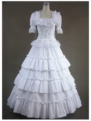 Victorian Gothic Lolita White Short Sleeves Floral Double-Layer Lace Prom Palace Dress