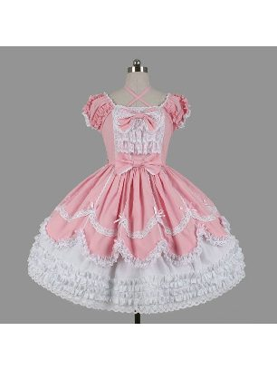 Campus style Gothic lace short-sleeved bow Sweet Lolita Dresses