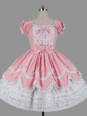 Pink Campus style Gothic lace short-sleeved bow Sweet Lolita Dresses