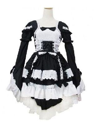 Black Lolita gothic waist one-piece court Sweet Long Sleeve Lolita Dress