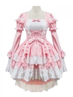 Pink Lolita gothic waist one-piece court Sweet Long Sleeve Lolita Dress