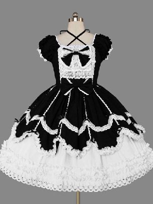 Black and white Campus style Gothic lace short-sleeved bow Sweet Lolita Dresses