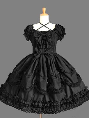 Black Campus style Gothic lace short-sleeved bow Sweet Lolita Dresses