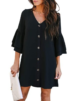 Supply Summer Solid Color V Neck Buttoned Bell Sleeve Shift Shirt Dress