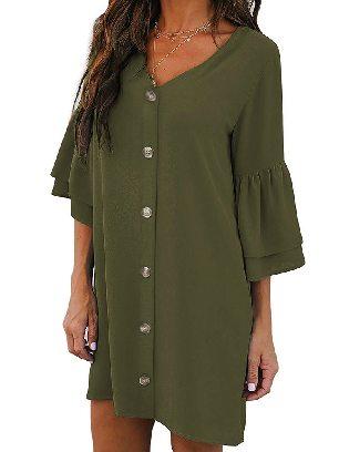 Green Summer Solid Color V Neck Buttoned Bell Sleeve Shift Shirt Dress