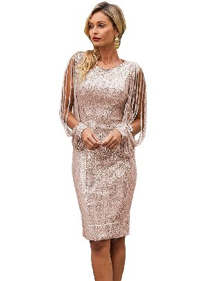 Flesh-colored Stitching Sequin Tassel Sleeve Bodycon Slim Irregular Prom Dress