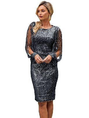 Black Stitching Sequin Tassel Sleeve Bodycon Slim Irregular Prom Dress