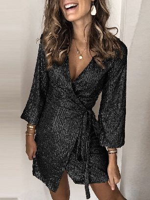 Black Printed Sequin WrapAncle-length Sleeve Dress with Sash