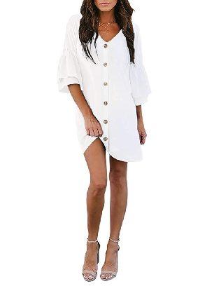 White Summer Solid Color V Neck Buttoned Bell Sleeve Shift Shirt Dress
