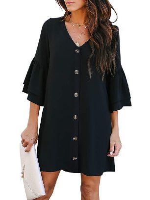 Black Summer Solid Color V Neck Buttoned Bell Sleeve Shift Shirt Dress