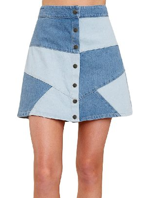 Supply Here Goes Nothing Two-color Stitching Denim Skirt