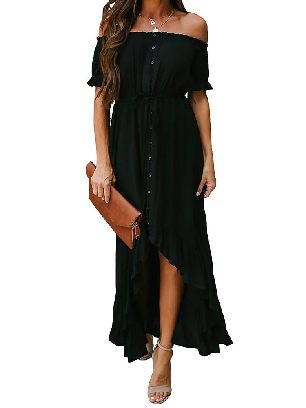 Black Solid Color Glaze High Low Shoulder Maxi Dress