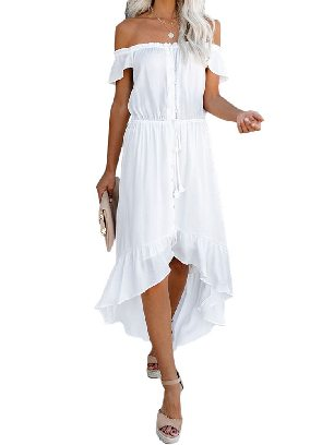 White Solid Color Glaze High Low Shoulder Maxi Dress