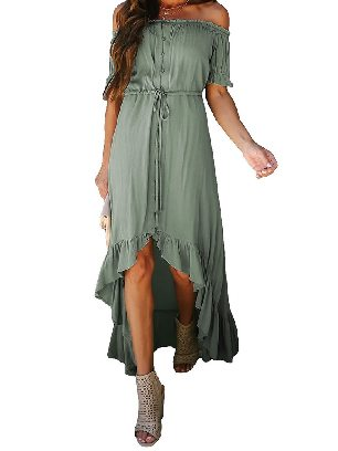Light Green Solid Color Glaze High Low Shoulder Maxi Dress