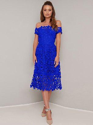 Blue Mini Off Shoulder Short Sleeve Sexy Crochet Prom Dress
