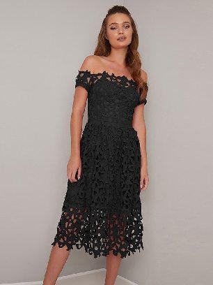 Black Mini Off Shoulder Short Sleeve Sexy Crochet Prom Dress