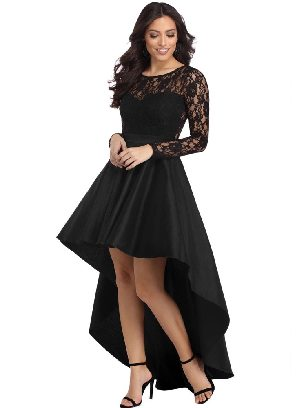 Supply Big Swing Long Sleeve Lace High Low Satin Stitching Waist Prom Dress