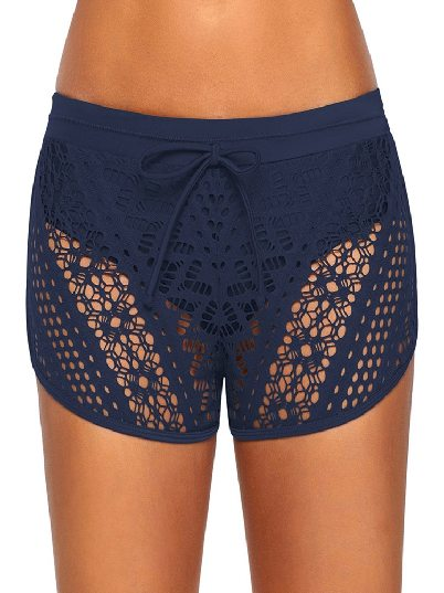 Dark blue Women Hollow Out Lace Overlay swimming trunks solid color Short Bottom