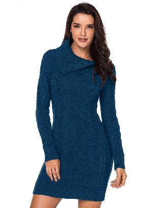 Green Women Asymmetric Buttoned Collar Cable Knit Pullover Sweater Dress