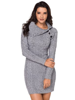 Gray Women Asymmetric Buttoned Collar Cable Knit Pullover Sweater Dress