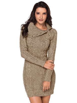 Supply Khaki Women Asymmetric Buttoned Collar Cable Knit Pullover Sweater Dress
