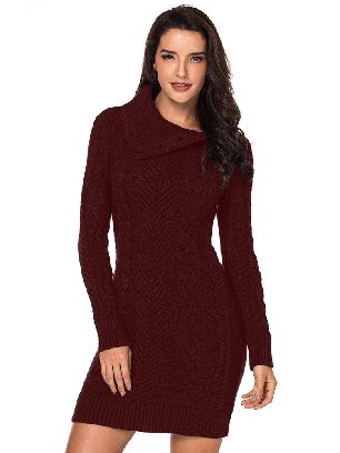 Supply Red Women Asymmetric Buttoned Collar Cable Knit Pullover Sweater Dress