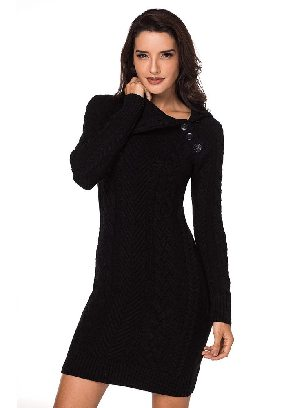 Black Women Asymmetric Buttoned Collar Cable Knit Pullover Sweater Dress