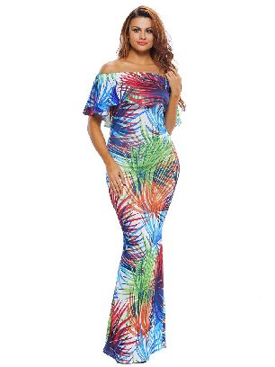 Tropical Leaf Print Off-the-shoulder Ruffled Slim Maxi Dress