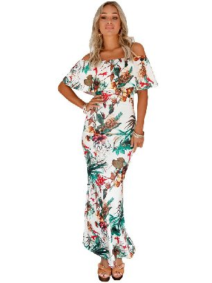 Green Tropical Leaf Print Off-the-shoulder Ruffled Slim Maxi Dress