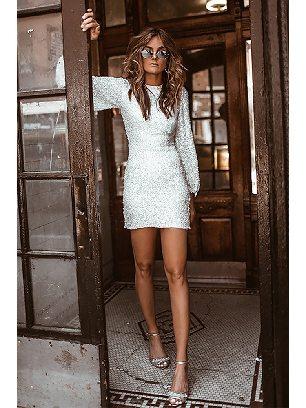 Supply Sexy Lantern Sleeve Puffy Sequin Slim Mini Prom Dress