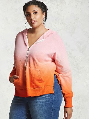Hooded Sweater Plus Size Ombre Terry Loose Zipper Hoodie