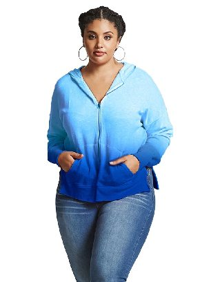 Blue Hooded Sweater Plus Size Ombre Terry Loose Zipper Hoodie