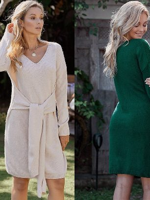 Supply Women Mid-length Sweater Dont Let Me Go Tie Dress