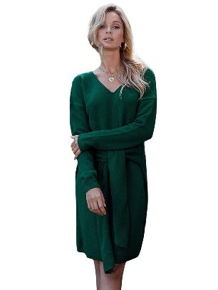 Green Women Mid-length Sweater Dont Let Me Go Tie Dress