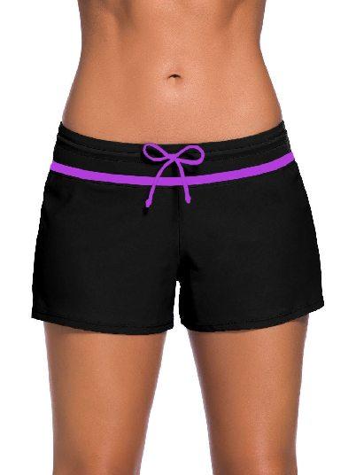 Black purple Women Summer Flat-angle Shorts Swim Boardshort