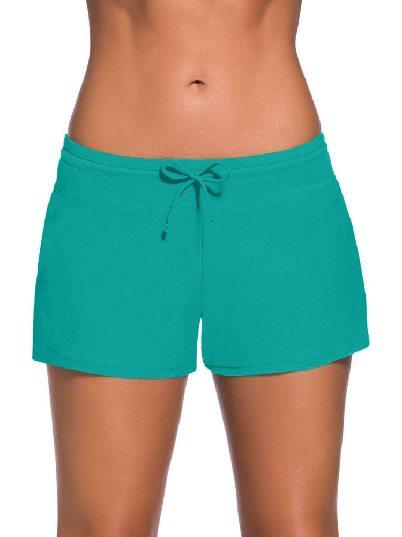 blue green Women Summer Flat-angle Shorts Swim Boardshort