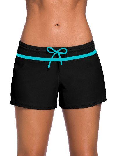 Black blue Women Summer Flat-angle Shorts Swim Boardshort