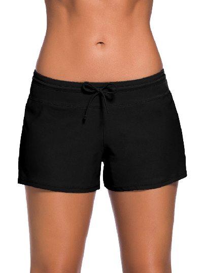 Black Women Summer Flat-angle Shorts Swim Boardshort